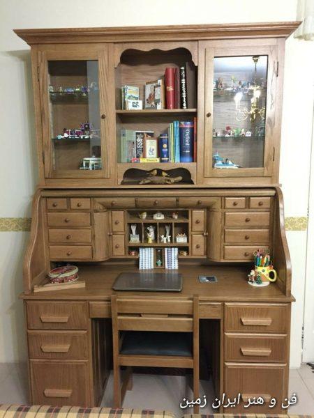 تحویل و نصب کتابخانه ایتالیایی، میز تحریر رول تاپ و صندلی مخصوص مطالعه جناب طایی
