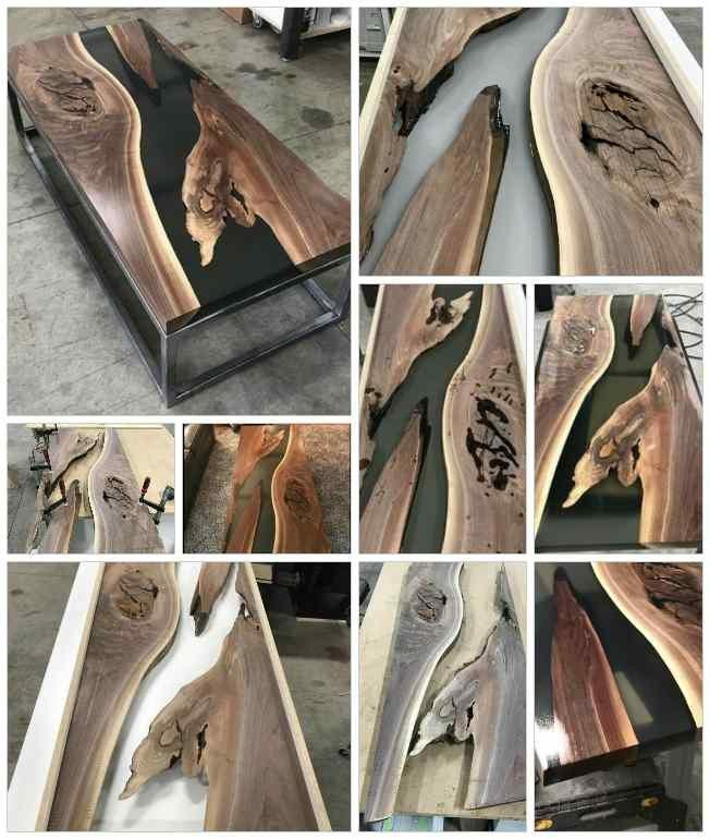 میز رزین پلی استر و چوب گردو