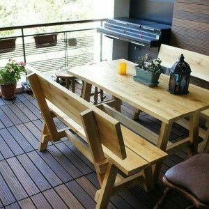 میز و صندلی و مبلمان روستیک، نیمکت چوب روسی سبک روستیک