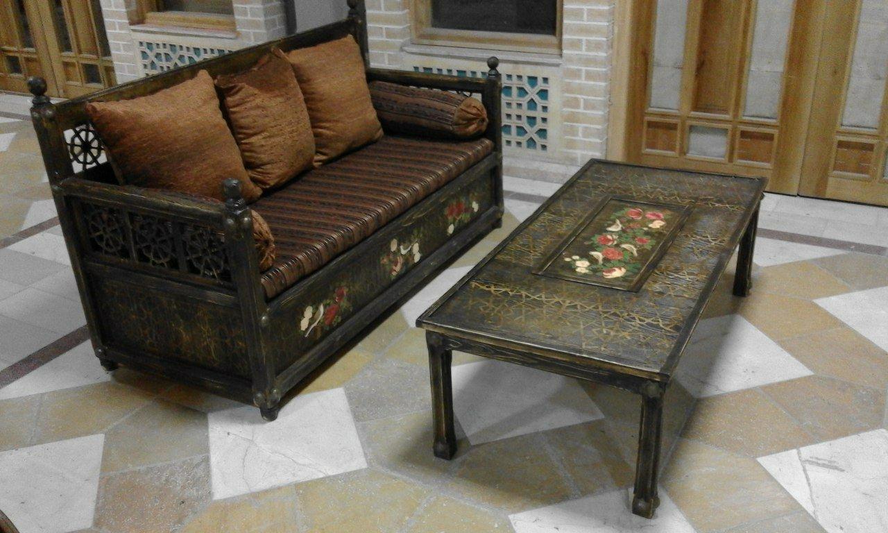 مبلمان سنتی ایرانی سبک گره چینی و دکوپاژ