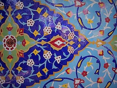 کاشی های ایرانی رنگ زرد و فیروزه ای