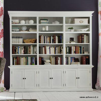 خرید کتابخانه چوبی ارزان , کتابخانه چوبی کلاسیک , مدل کتابخانه دیواری ساده