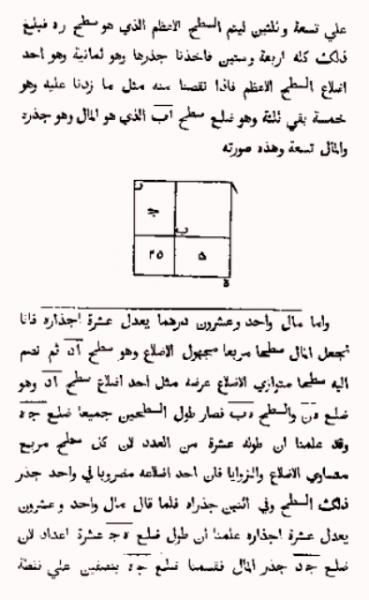 پرینت از صفحهای از کتاب الجبر خوارزمی