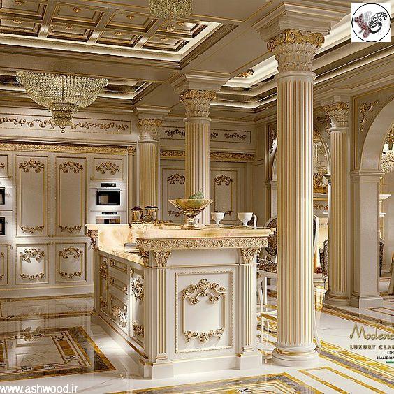 ایده دکوراسیون آشپزخانه کلاسیک چوبی لوکس و لاکچری جدید