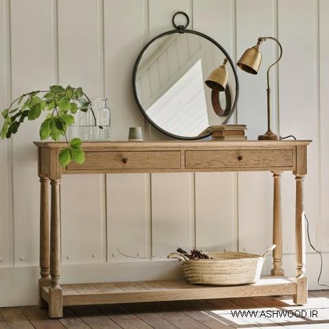 میز کنسول , ایده های زیبای میز کنسول چوبی و تزئینات چوبی دکوراسیون چوبی منزل