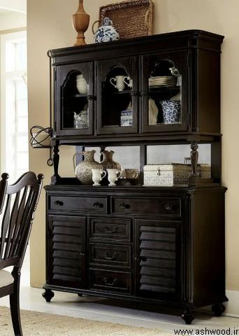 میز بوفه ویترین , میز بار چوبی کلاسیک , دکوراسیون چوبی لوکس