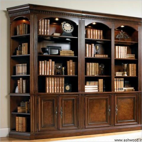 عکس از بهترین دکوراسیون کتابخانه چوبی