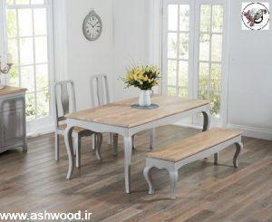 یک نیمکت و میز ناهار خوری مجموعه، در بلوط ، اصول چیدمان میز٬ انواع میز ناهارخوری٬ ساخت میز٬