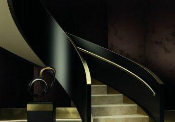 مدل نرده چوبی راه پله , ایده نرده چوبی پلکان