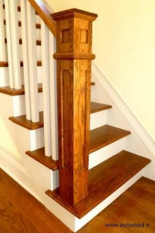 مدل پله چوبی راه پله , مدل نرده راه پله چوبی , پله لوکس چوبی