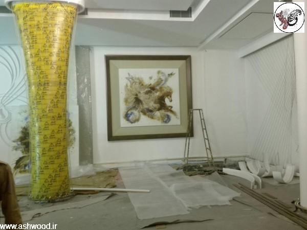 تابلو نقاشی 300*300 سانتی متر بات قاب برجسته به وزن 130 کیلوگرم ، تابلو نقاشی رستوران ماهان شاندیز