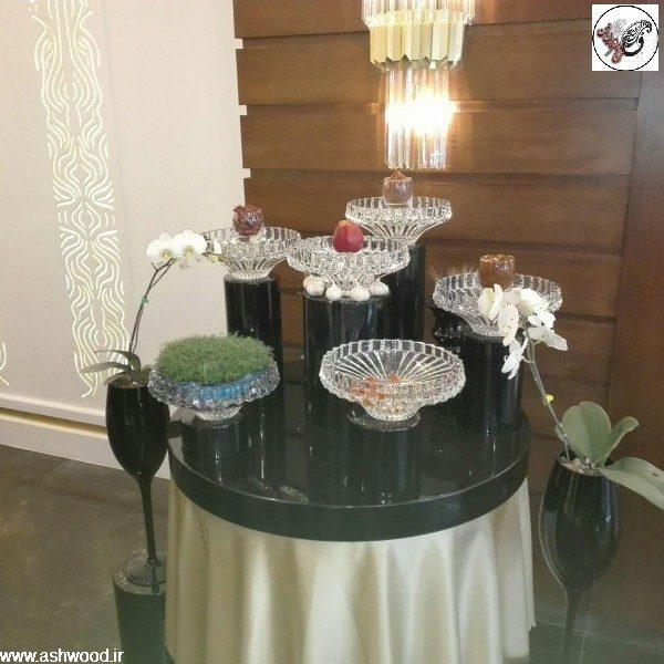 میز هفت سین 1396 ، نمونه کار پروژه رستوران ماهان شاندز ، ساخت میز رنگ پولیش مشکی