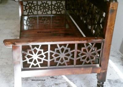 مبلمان سنتی , تخت سنتی چوبی ، مبلمان گره چینی دکوراسیون ایرانی