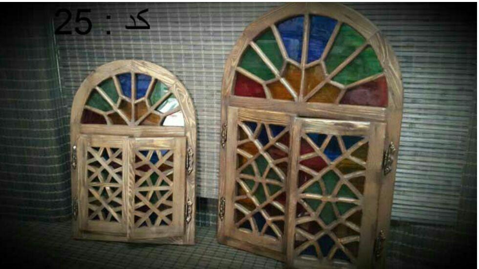 درب و قاب آینه بازشو با تاج گره چینی نیم گرد ، قاب آینه سنتی