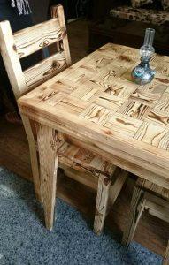 میز و صندلی چوب کاج روستیک