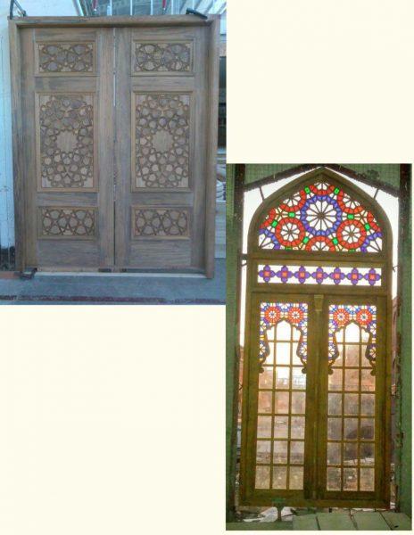 درب مسجد چوبی , طرح گره چینی و اسلیمی