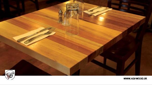 طراحی دکوراسیون چوبی رستوران، میز بار