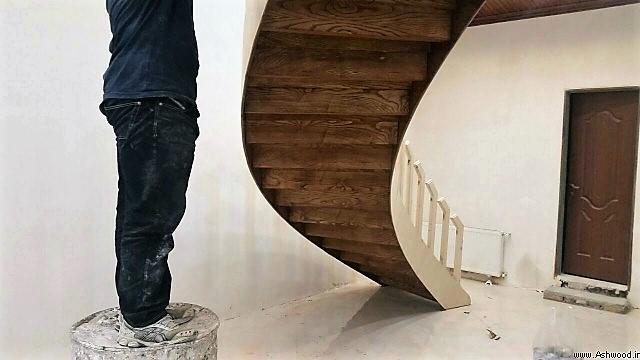 چوب کاری پله , ساخت پله چوب بلوط