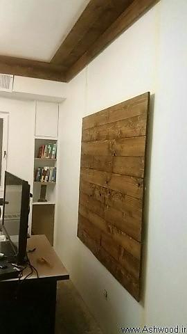 نصب لمبه چوب کاج روسی , رنگ کاری چوب گردویی