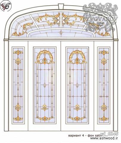 رسم درب چوبی و پنجره در پلان