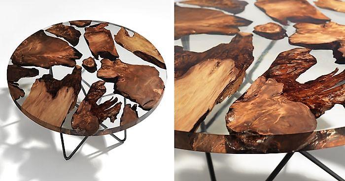 میز جلو مبلی رزین و چوب و شیشه , اثر خاص از صنایع چوب فن و هنر