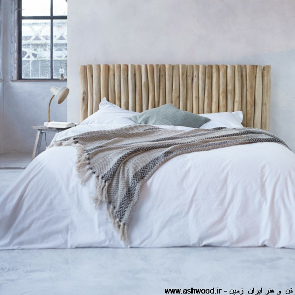 تخت خواب روستیک چوبی دکوراسیون اتاق خواب