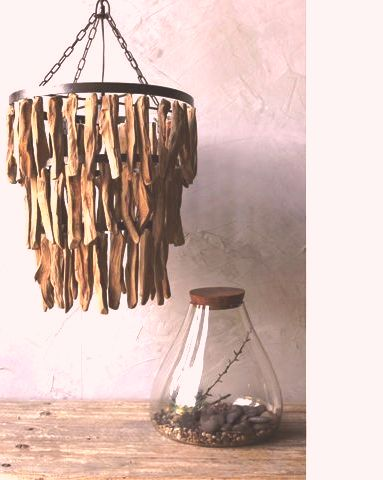 چراغ سقفی چوبی رستوران