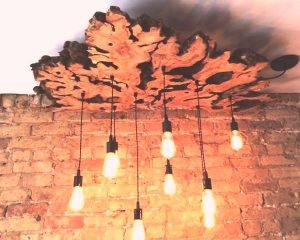 ساخت لوستر و آباژور با تنه و ریشه درختان خشک
