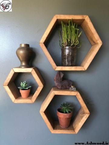 طراحی قفسه و شلف چوبی , شلف و دکور لانه زنبوری