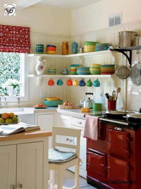 دکوراسیون منزل آشپزخانه به منظور سبک چوبی واز کهن (نقش)