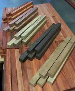 African exotic wood turning squares: padauk, bubinga, zebrawood, wenge, and sapele