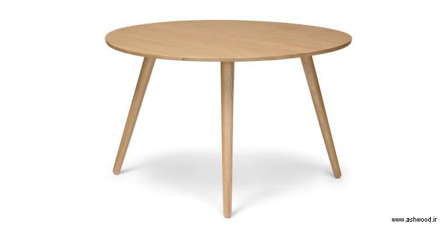 میز گرد چوبی , صفحه تمام چوب بلوط , میز ناهار خوری , میز چوب بلوط