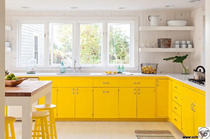 دکوراسیون آشپزخانه زرد رنگ