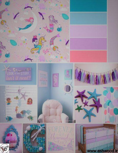 الهام بخش برای ایجاد یک اتاق خواب منحصر به فرد برای دختران کمی با این دکوراسیون و مبلمان الهام گرفته از پری دریایی.