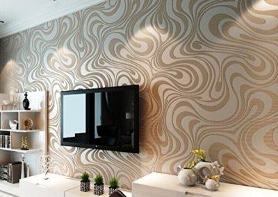کاغذ دیواری در کنار دکوراسیون چوبی منزل