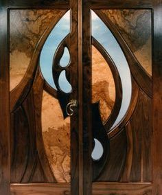 ایده درب چوبی ساخته شده از چوب گردو