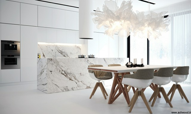 دکوراسیون لوکس آشپزخانه , کابینت آشپزخانه چوبی