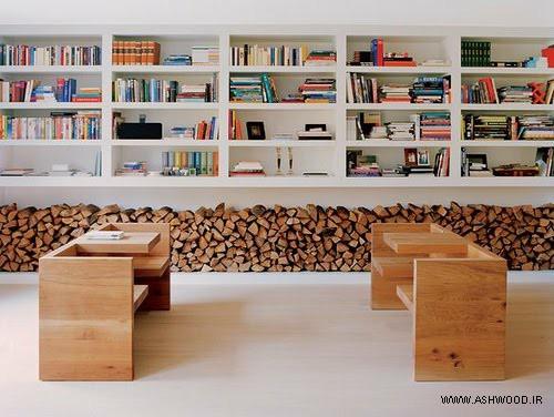 کتابخانه و میز و صندلی چوبی