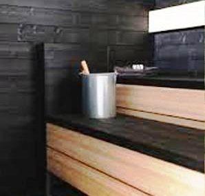 عکس سونای خشک با چوب مشکی و سفید