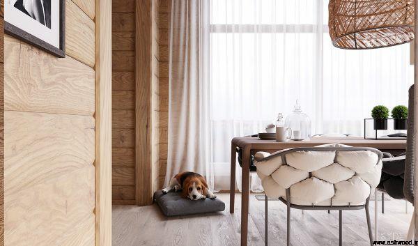 دکوراسیون خانه دنج با چوب بلوط