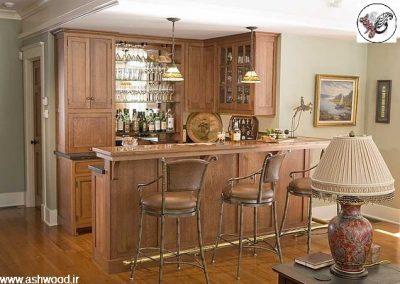 اپن آشپزخانه ، بار و کانتر ، پیشخوان کابینت چوبی