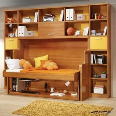 دکوراسیون اتاق کودک , کتابخانه چوبی و تخت خواب