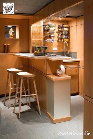 مدل میز بار چوبی , دکوراسیون آشپزخانه , ساخت میز بار و کانتر چوبی