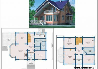 plan پلان کلبه چوبی
