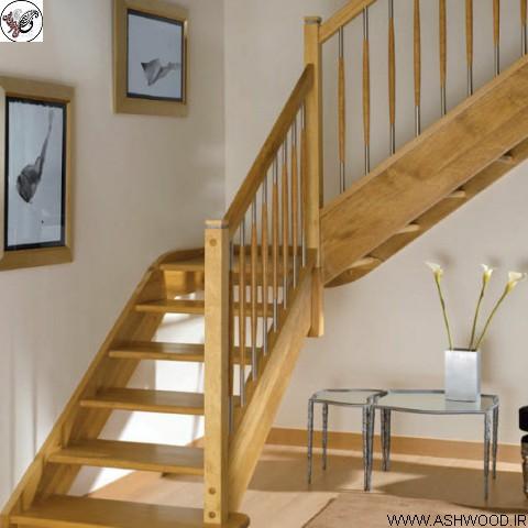 مدل نرده چوبی راه پله