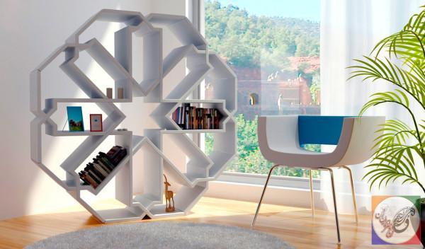 قفسه کتاب دیواری , قفسه کتاب هندسی
